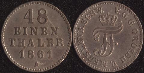 Мекленбург Шверин 1/48 таллера 1861