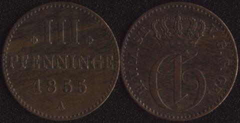 Мекленбург-Стрелиц 3 пфеннига 1855