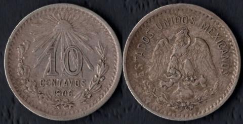 Мексика 10 сентаво 1906