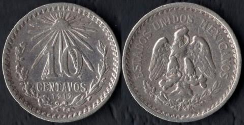 Мексика 10 сентаво 1919 (серебро)