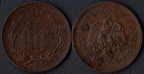 Мексика 10 сентаво 1935