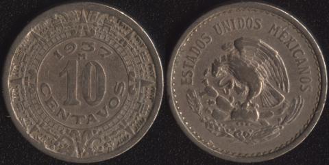 Мексика 10 сентаво 1937