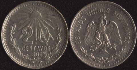 Мексика 20 сентаво 1906