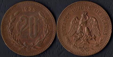 Мексика 20 сентаво 1935