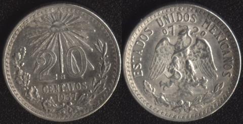 Мексика 20 сентаво 1937