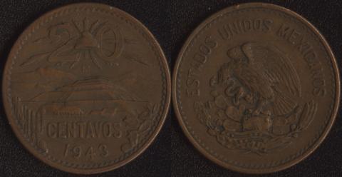 Мексика 20 сентаво 1943