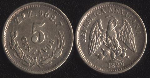 Мексика 5 сентаво 1896 (Сакатекас)