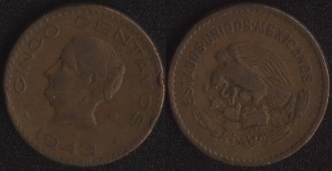 Мексика 5 сентаво 1943