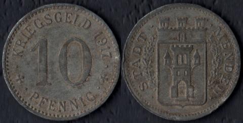 Менден 10 пфеннигов 1917