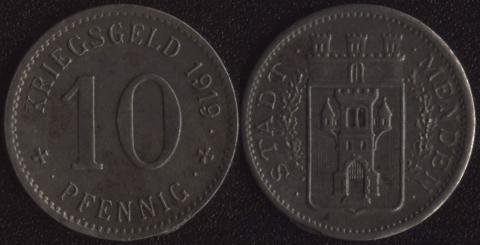 Менден 10 пфеннигов 1919