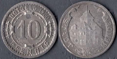 Менден 10 пфеннигов 1920