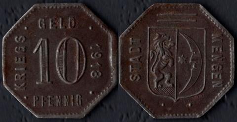 Менген 10 пфеннигов 1918