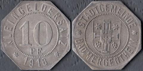 Мергентайм 10 пфеннигов 1918