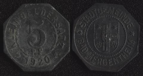Мергентайм 5 пфеннигов 1920