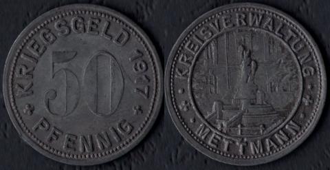 Меттманн 50 пфеннигов 1917