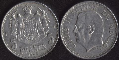 Монако 5 франков 1943