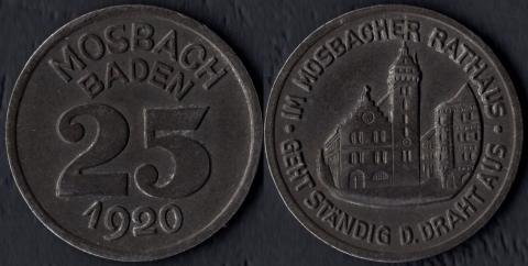 Мосбах 25 пфеннигов 1920