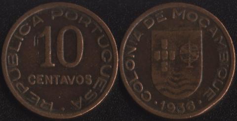 Мозамбик 10 сентаво 1936