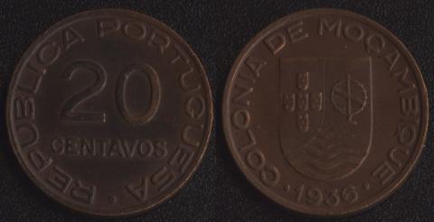 Мозамбик 20 сентаво 1936
