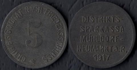 Мюльдорф-Ноймаркт 5 пфеннигов 1917