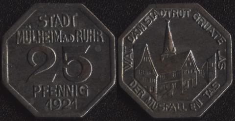 Мюльхайм-ан-де-Рур 25 пфеннигов 1921