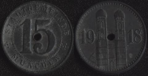 Мюнхен 15 пфеннигов 1918