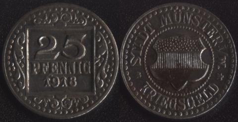 Мюнстер 25 пфеннигов 1918