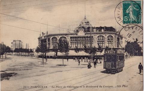 Перпиньян, Площадь Каталонии и бульвар Канигу, открытка начала XX века