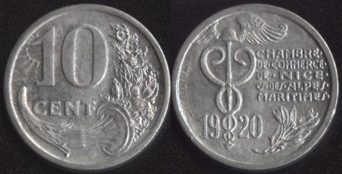 Ницца 10 сантим 1920