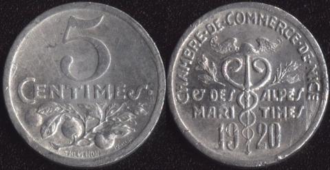 Ницца 5 сантим 1920