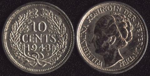 Нидерландское Кюрасао 10 центов 1943