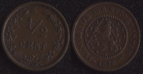 Нидерланды 1/2 цента 1878