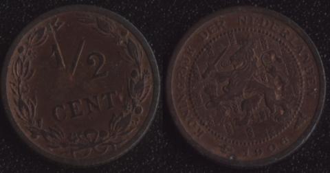 Нидерланды 1/2 цента 1906