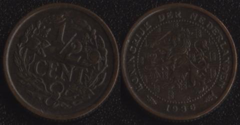 Нидерланды 1/2 цента 1936