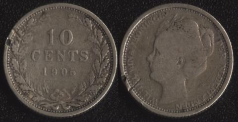 Нидерланды 10 центов 1905