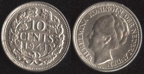 Нидерланды 10 центов 1941