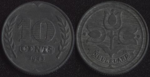 Нидерланды 10 центов 1943