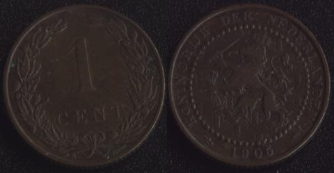 Нидерланды 1 цент 1905