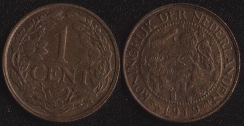 Нидерланды 1 цент 1919