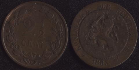 Нидерланды 2-1/2 гульдена 1883