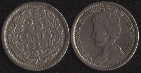 Нидерланды 25 центов 1918