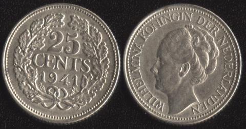 Нидерланды 25 центов 1941