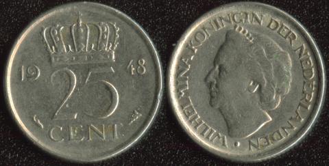 Нидерланды 25 центов 1948