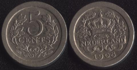 Нидерланды 5 центов 1908