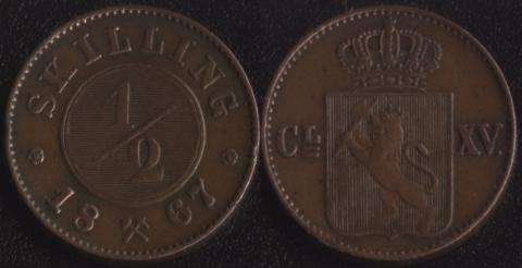 Норвегия 1/2 скиллинга 1867