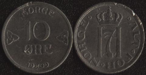 Норвегия 10 оре 1909