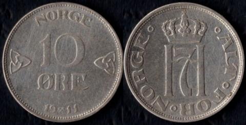 Норвегия 10 оре 1911