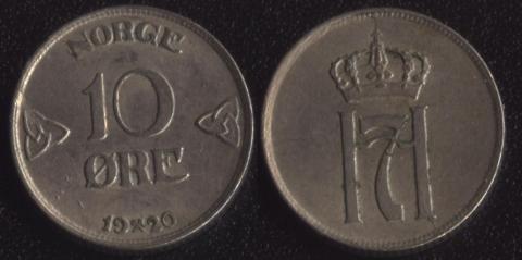 Норвегия 10 оре 1920