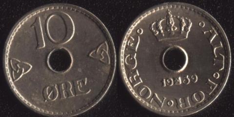 Норвегия 10 оре 1939