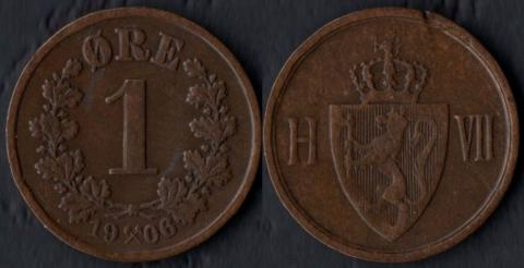 Норвегия 1 оре 1906